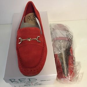 Isaac Mizrahi red suede loafer.